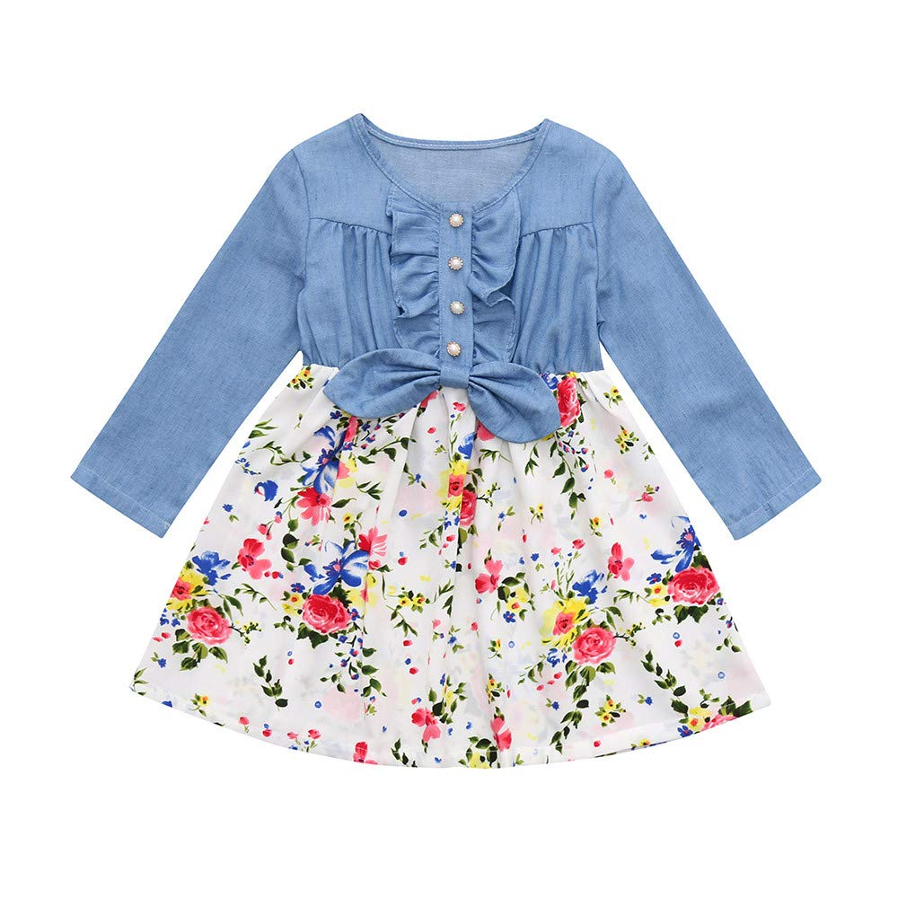 GoodLock Clearance!! Baby Girls Dresses Toddler Denim Splice Floral Print Dress Long Sleeve Bow Princess Dress