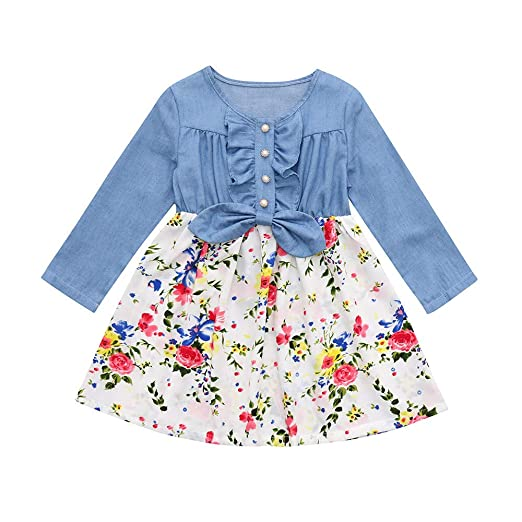 4d31f8580960 Amazon.com  KONFA Teen Toddler Baby Girls Splice Floral Dress