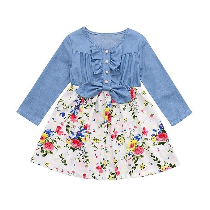 YanHoo Bodies para bebés niña Vestido de Mosaico Floral Denim de Manga Larga para niños Mangas largas con Estampado Floral de Mezclilla de Manga Corta para ...