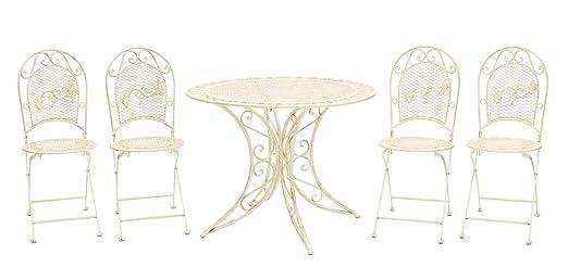 aubaho Muebles de jardín Conjunto Mesa + 4 sillas de Hierro ...