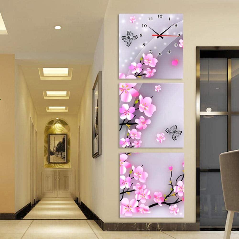 WFQGZ Reloj de Pared Mural Primavera cálida Flores tríptico Reloj Creativo Arte Hora Mano Sala de Estar Porche Pintura Decorativa versión Vertical Pintura sin Marco Reloj de par