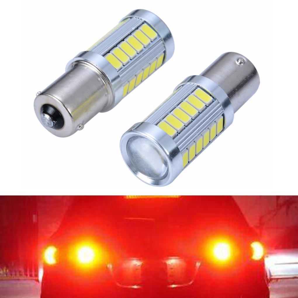 Meisijia 2PCS 1156 BA15S 33 LED Automobile Car Tail Red Light Kit contact unique ampoule de frein Lampe Stoplight Set AMZmeisijia18227