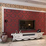 QIHANG Luxury Extra-thick Non-woven 3D Dimensional Flocking Damask Embossed Wallpaper Roll Red Color 0.53m(1.73') x 10m(32.8')=5.3m2 (57 sq.ft)