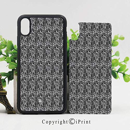 Phone Case Protective Design Lace Like Floral Bridal Elegant Mesh Victorian Needlecraft Digital Print Durable Hard PC Back Phone Cover Compatible for iPhone X,Black White -