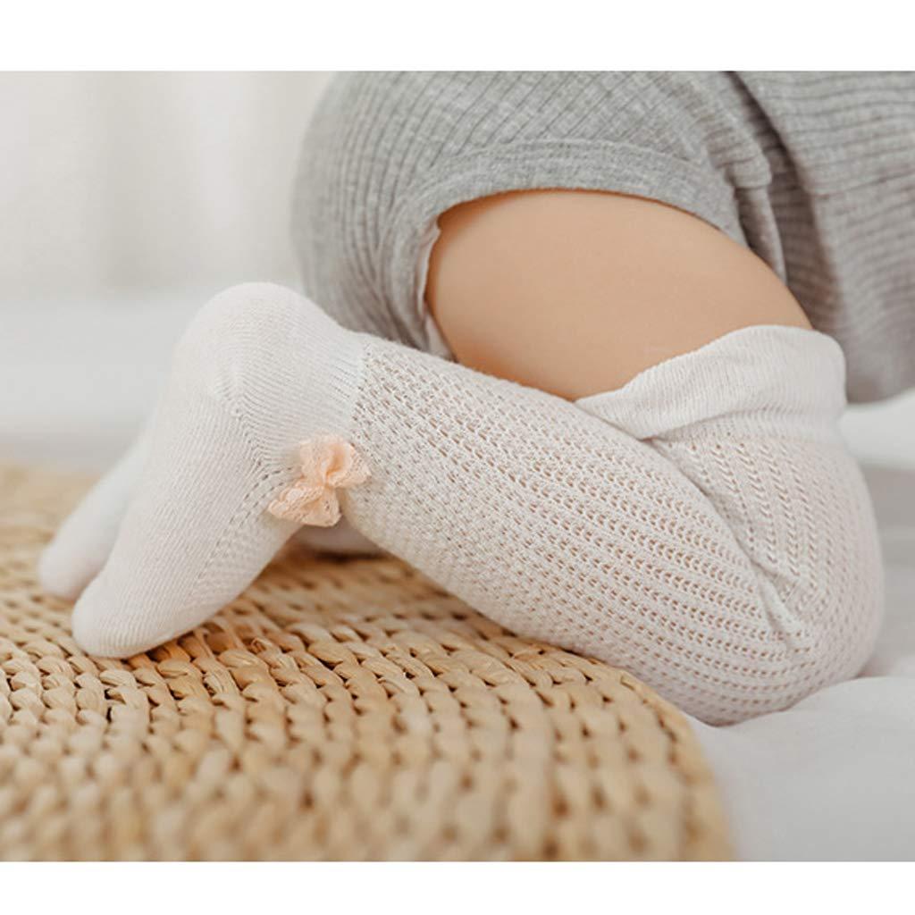 Yearkala Summer Long Lace Socks Newborn Toddler Cotton Knee Baby Girls Boys Infant Anti-mosquito High Sock 0-6M /