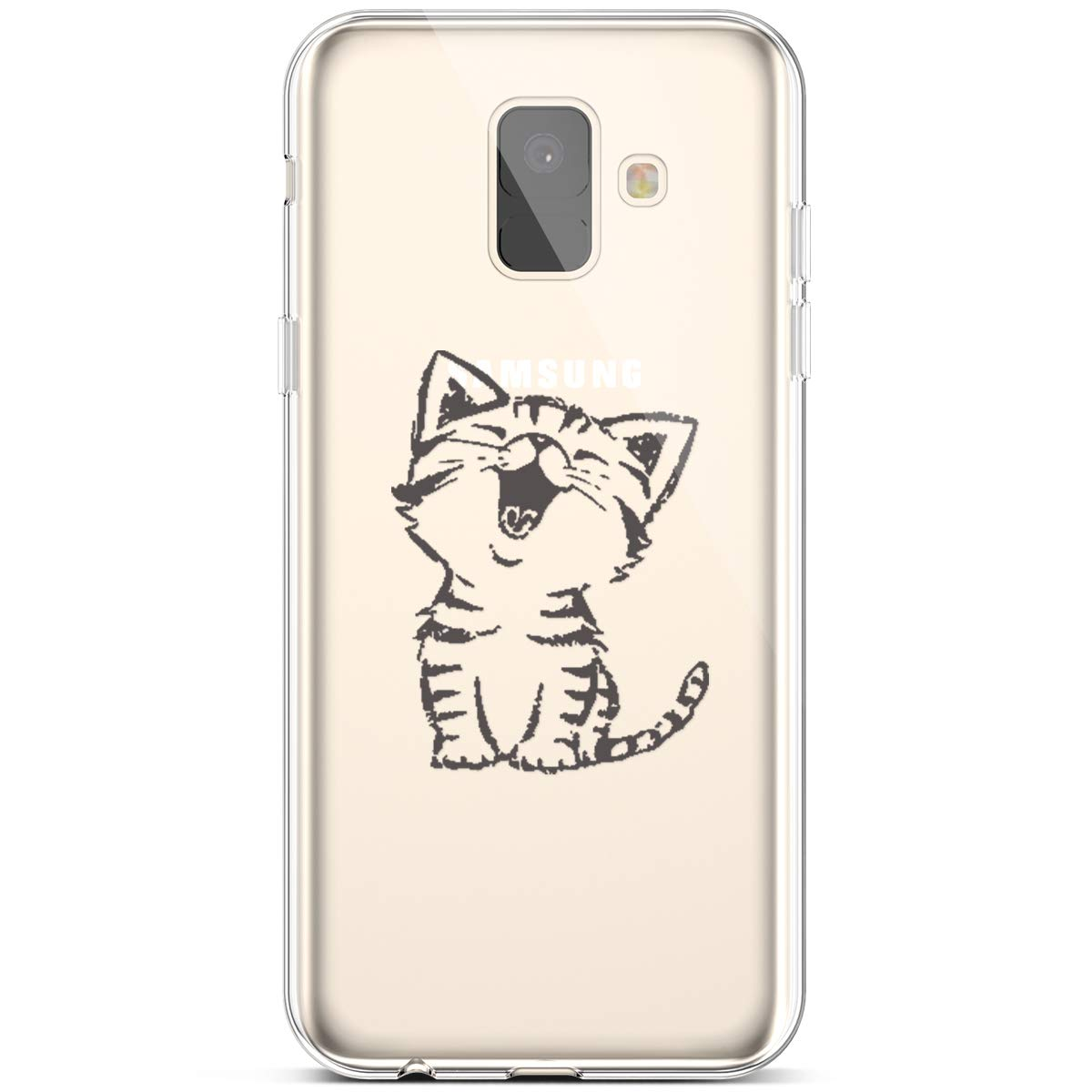 Case for Samsung Galaxy A5//A8 2018 Surakey Ultra Slim TPU Soft Silicone Crystal Clear Transparent Case Floewr Animal Pattern Bumper Protector Case Cover for Samsung Galaxy A5//A8 2018,Happi cat