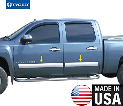 Made in USA! Works with 07-08 Chevy Silverado Crew Cab Rocker Panel Chrome  Stainless Steel Body Side Moulding Molding Trim Cover Full 4 25