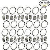 Ogrmar 24Pcs 2'' Nickel plating Metal Curtain Clip Rings (2'')