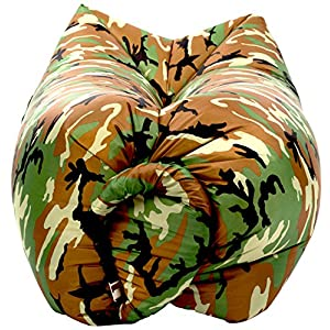 ChillaX Inflatable Lounger Hammock - Best Air Lounger for Travelling, Camping, Hiking - Ideal Inflatable Couch for Pool and Beach Parties - Perfect Air Chair for Picnics or Festivals (Camouflage)