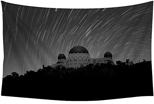 PUPBEAMO PRINTS Griffith Observatory Night Photography Los Angeles – Wall Tapestry Art for Home Decor Wall Hanging Tapestry 60×40 Inches Black and White