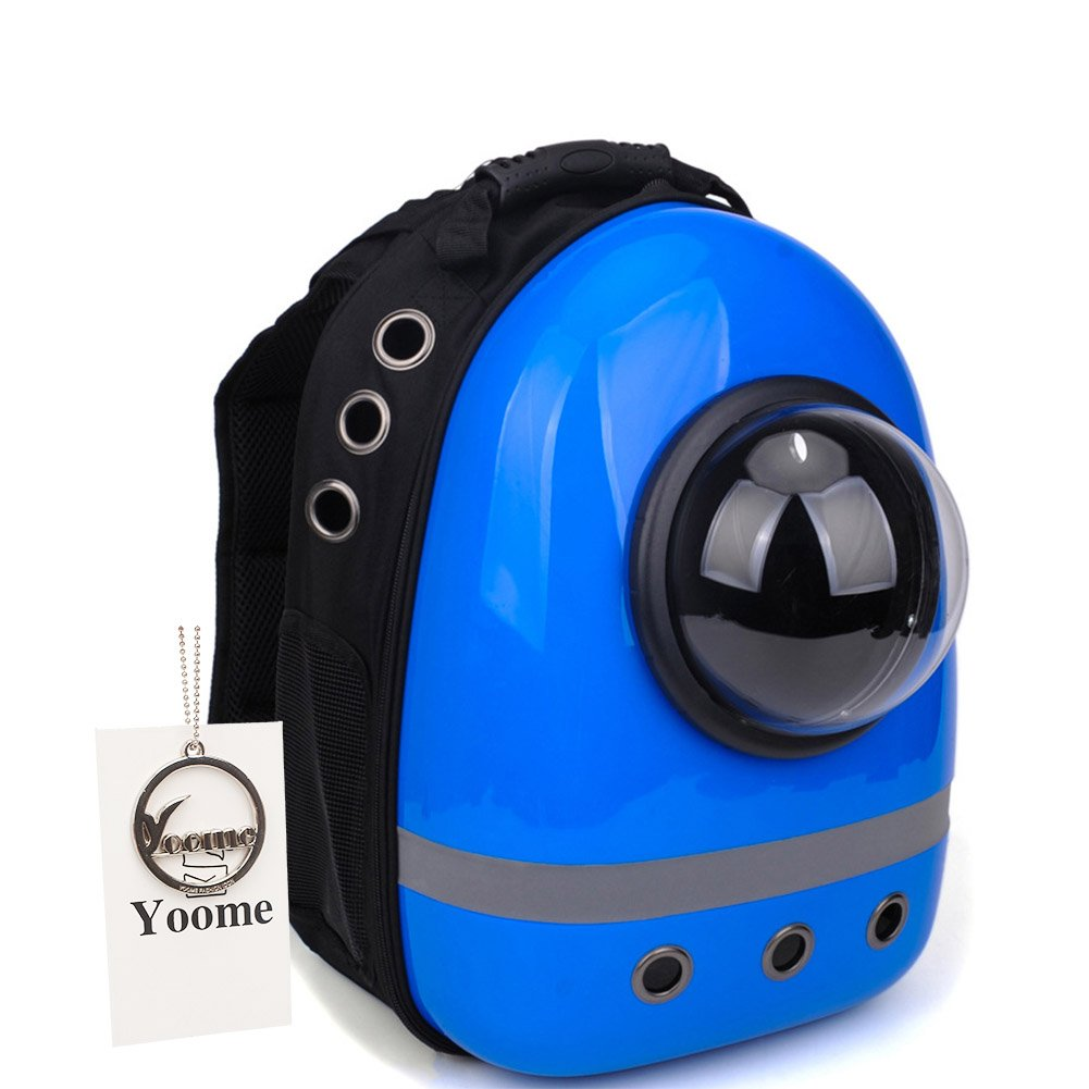 bluee with 3 holes Yoome Pet Portable Carrier Space Capsule Backpack, Pet Bubble Traveler Knapsack Multiple Air Vents Waterproof Lightweight Handbag for Cats Small Dogs & Petite Animals