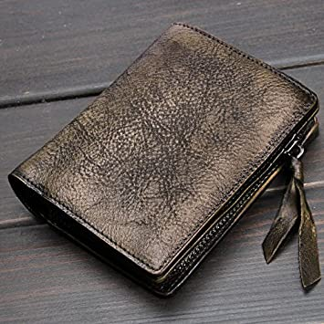 Monedero artesanal vertical corto de hombres jóvenes mujeres hombres de cuero suave la cartera carteras de