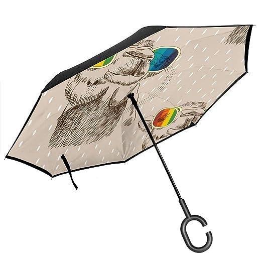 Csiemns Paraguas invertido de Doble Capa Reversible Plegable con ...