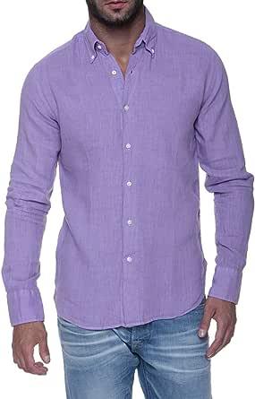 Jeckerson Camisa de Lino para Hombre, Color: Fucsia, Talla ...
