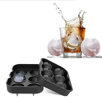 TECHSON Molde para bolas de hielo, bandeja redonda grande para cubitos de hielo para whisky