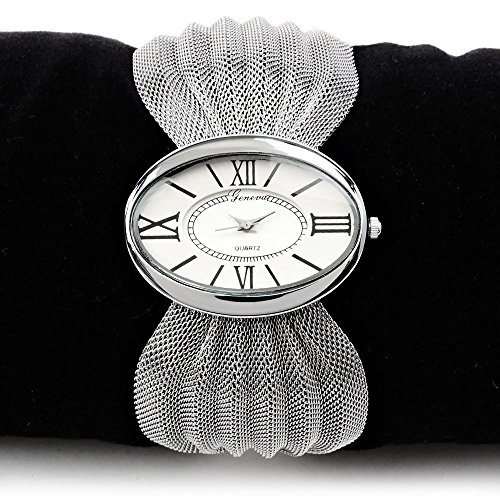 [Silver Mesh Bow Bracelet Oval Face Women's Fashion Watch] (Geneva Bows)