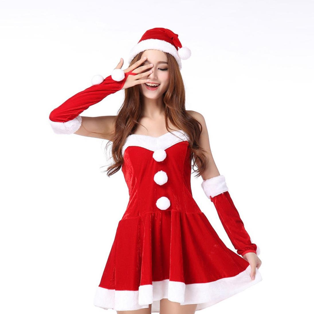 Women Christmas Party Dress, Franterd Ladies Santa Costume Cosplay Suit (1, Red)