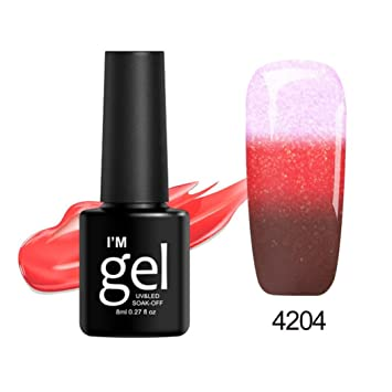 Amazon.com : Gel Nail Polish Color Changing, Iuhan 8ml Thermal Nail Polish Color Changing Peel Thermal Ultra-thin Glitter Soak Off UV Gel (D) : Beauty