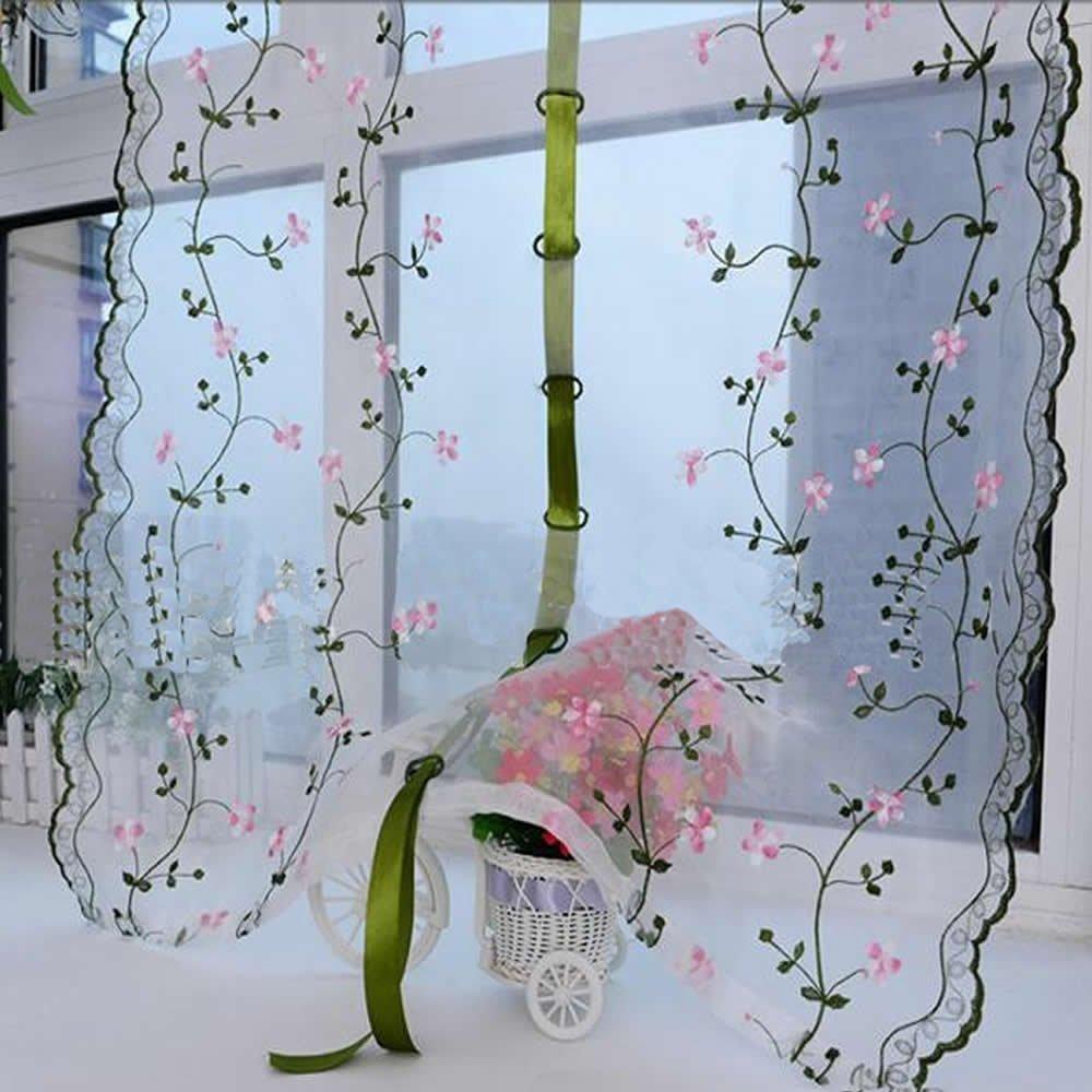 Gosear-Cortina de ventana Floral bordado para Cafe,Cocina,Puerta ...