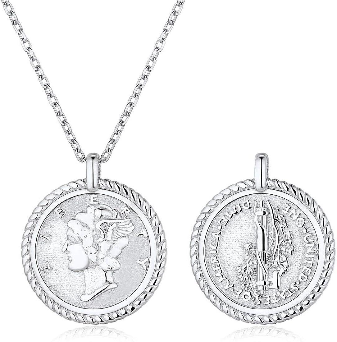 ChicSilver Collar Moneda Memorial Plata de Ley 925 para Mujeres Medalla Redonda Preciosa para Familia Joyería Moderna