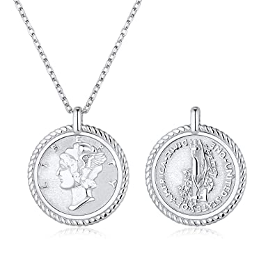 1d495d3e401bd ChicSilver Women Men Handmade Coin Necklace 925 Sterling Silver Vintage  Dainty Disc Pendant Necklaces, Gold/Silver(with Gift Box)