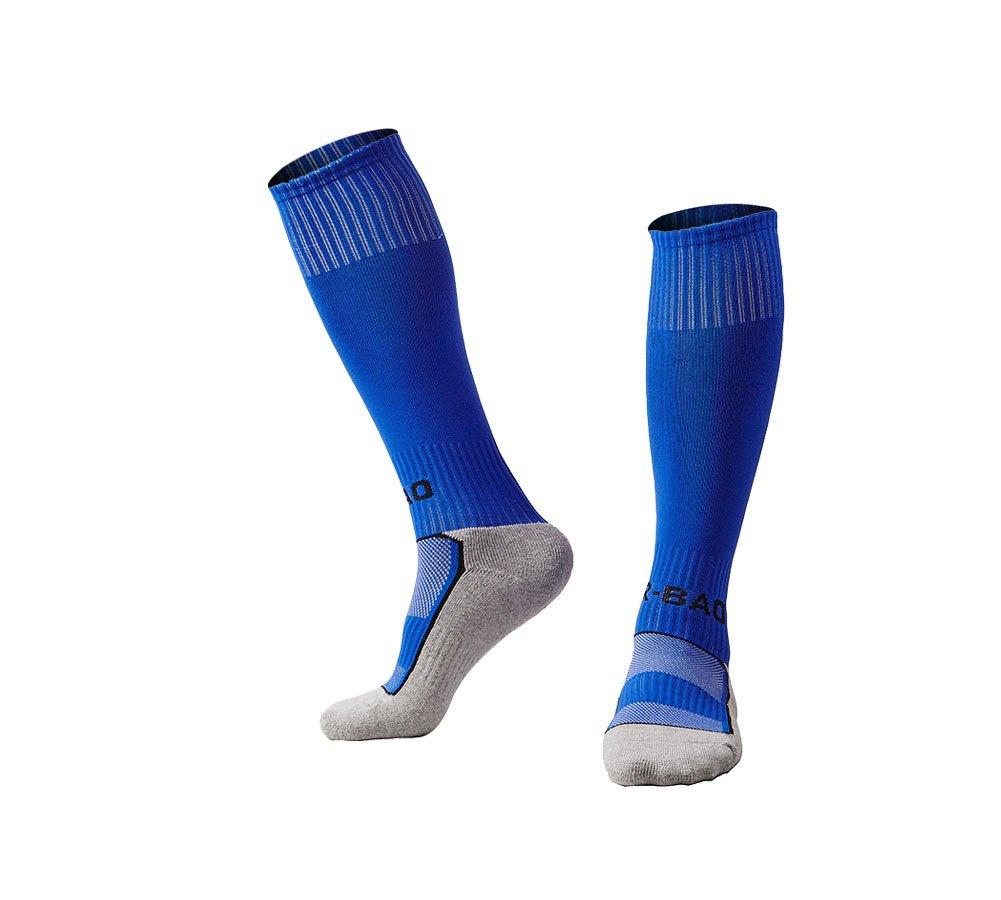 OUAYJI kids Knee High Sport Towel Bottom training compression Soccer Football Socks 1 pairs blue by OUYAJI