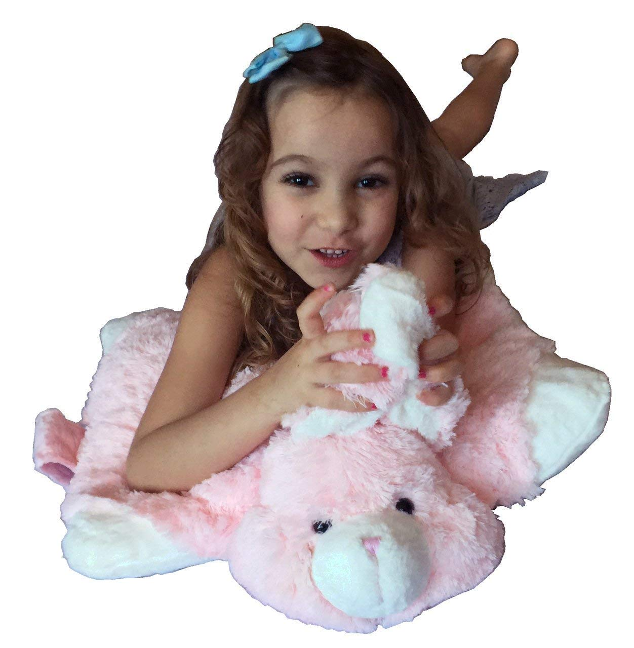 Pink Bunny Zoopurr Pets 2-in-1 Stuffed Animal and Pillow Large 19''