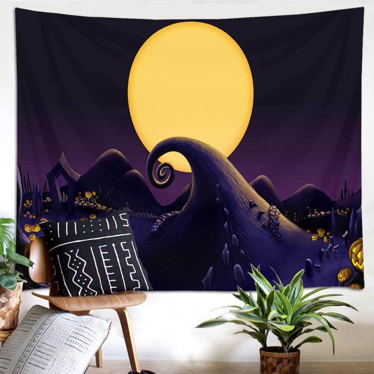 HVEST Nightmare Before Christmas Tapestry Decoration Moon Night Graveyard Wall Decor Pumpkin Jack-O-Lantern Wall Decor Wilderness Tapestries for Bedroom Home Dorm Halloween Decor 92.5Wx70.9H inches