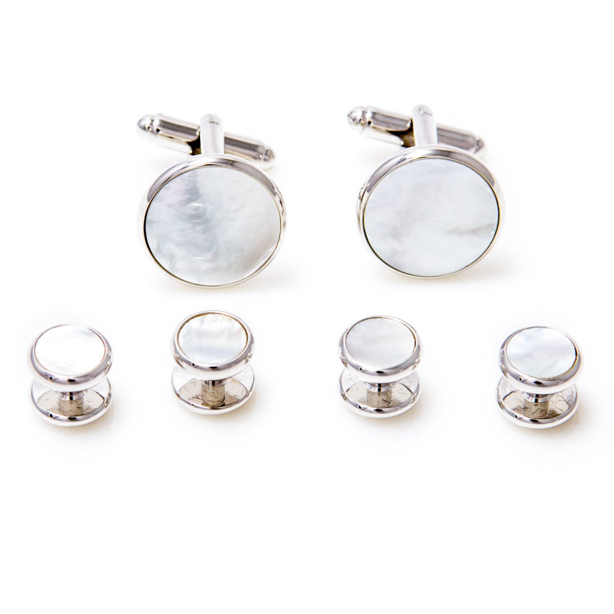 MRCUFF Mother of Pearl Cufflinks and Studs Tuxedo Set in a Presentation Gift Box & Polishing Cloth