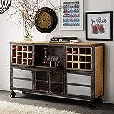 Rosetta 100% Hardwood Reclaimed Metal Furniture Industrial Bar Cabinet 24 Rack 4 Doors