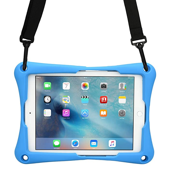 10-10.4'' inch Tablet case, Cooper Trooper 2K Shoulder Strap Rugged Heavy Duty Tough Bumper Protective Drop Shock Proof Rubber Silicon Carry Kids Toy Work Holder Carrying Cover Bag, Stand (Blue)