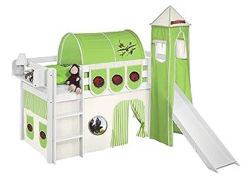 Etagenbett Hochbett Spielbett Kinderbett Jelle 90x200cm Vorhang : Lilokids spielbett jelle dragons hochbett mit turm rutsche und