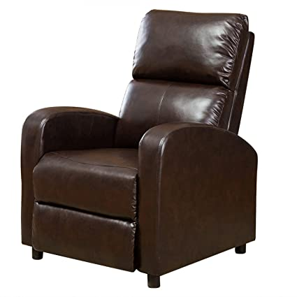 Sensational Bonzy Manual Push Back Recliner Chair Modern Leather Leisure Recliner Sofa Dark Brown Onthecornerstone Fun Painted Chair Ideas Images Onthecornerstoneorg