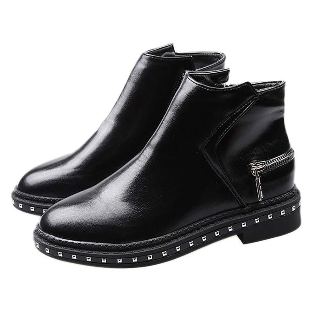 YMFIE Damen Chelsea Stiefeletten Kunstleder Mode Stiefelies Low Top Schuhe