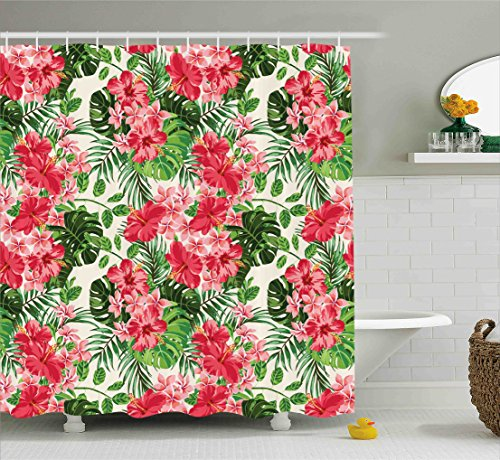 wer Curtain by, Tropical Botanic Flowers Leaves Ivy Island Hawaiian Image, Fabric Bathroom Decor Set with Hooks, 75 Inches Long, Dark Coral Hunter Green Jade Green ()