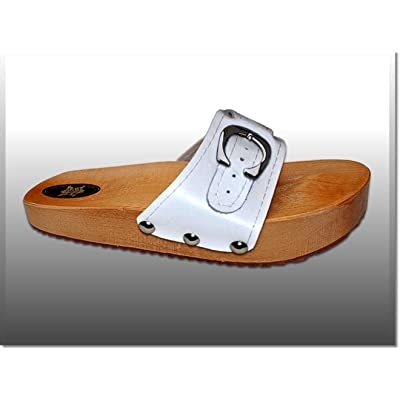 'Marited' White Anti Cellulite Medical Slimming Sandals Clogs Shoes Natural Wood and Leather