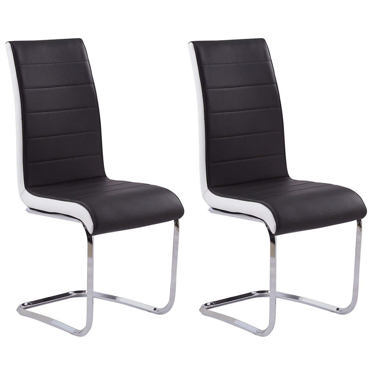 GIZZA DINING CHAIRS MODERN ARTIFICIAL LEATHER BLACK WHITE METAL CHROME LEGS HIGH BACK HOME OFFICE FURNITURE (2 Chairs)