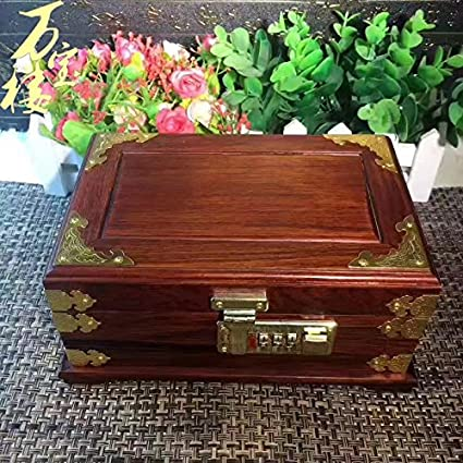 GFEI Caja de joyeria caja de joyeria bisuteria manualidades decoracion de madera maciza de almacenamiento en