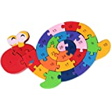 Puzzle 3D en Bois Enfant Jeux éducatifs Animaux Escargot Jouets Cadeaux