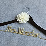 Custom Wedding Dress Hanger, Personalized Bridal Dress Hanger With Flower, Customize Name Hanger Bridal Shower Gift, Bridal Bridesmaid Gifts, Colorful Wire Hanger