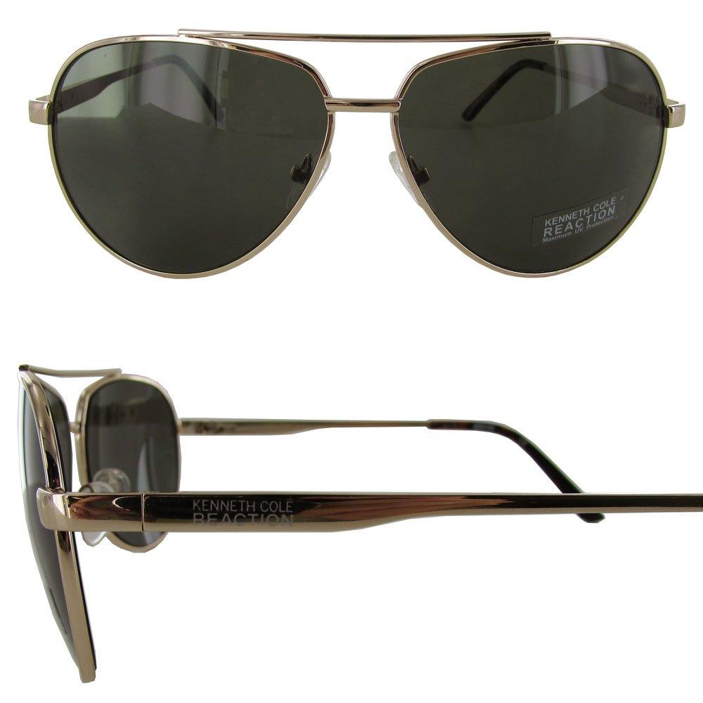 f4db89b985 Amazon.com  Kenneth Cole Reaction KC1247 6132N Men s Gold Aviator Sunglasses   Clothing