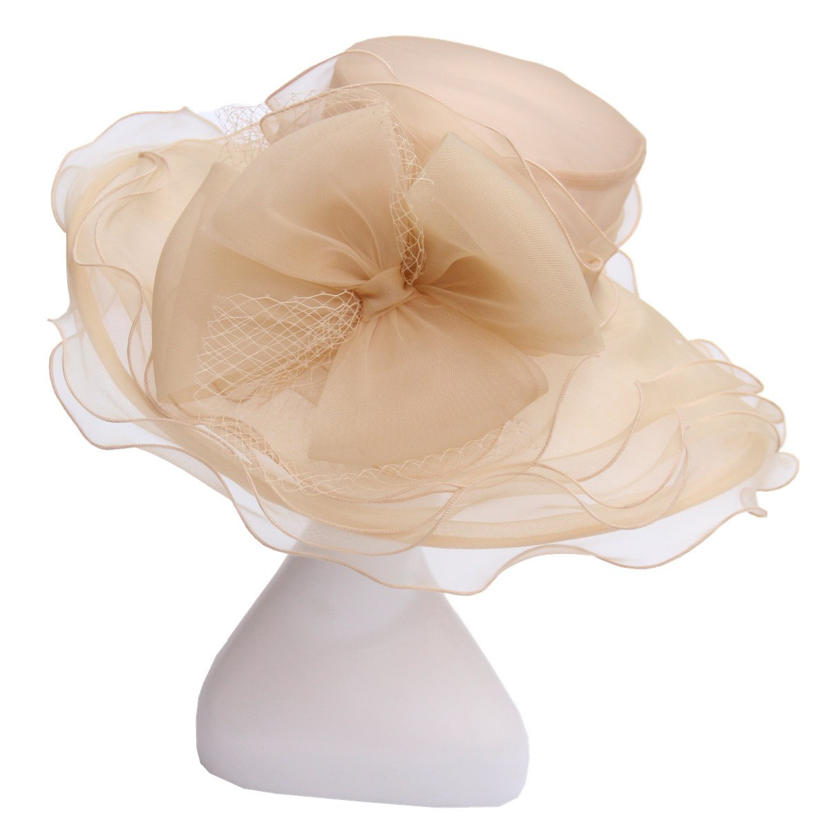 DAFUNNA Pamela ala ancha y flores Organza Seda Sombrero de Sol para Mujer  Boda Derby Church ... fa527c8e0595