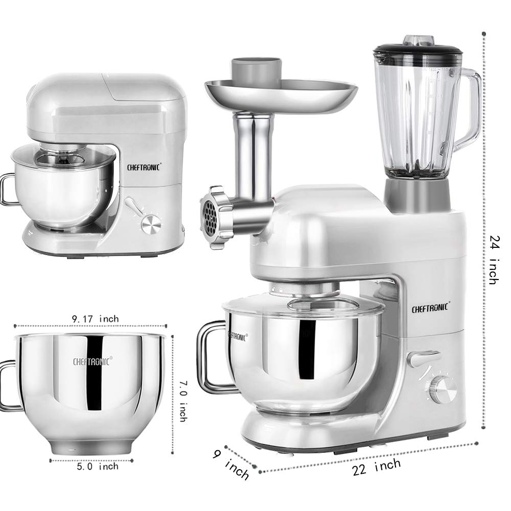 CHEFTRONIC SM1086-Silver Standing Mixer, One Size, Silver by CHEFTRONIC (Image #3)