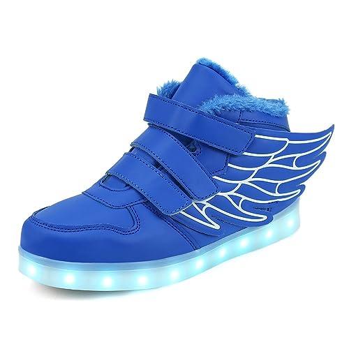qkettle Kids luz LED hasta Zapatos con alas Fashion Zapatillas para niños niñas High Top iluminación Escuela Zapatillas de Deporte para Junior: Amazon.es: ...