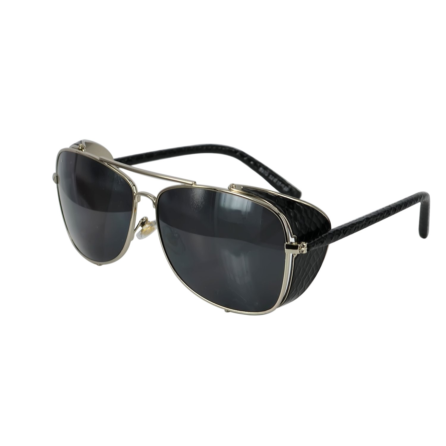 Ucspai Steampunk Sunglasses Goggles Silver Frame with Grey Lens