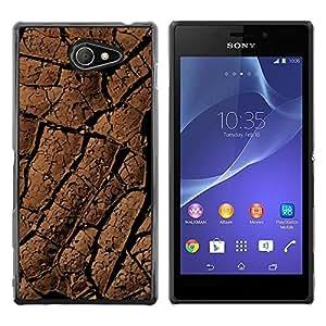 Be Good Phone Accessory // Dura Cáscara cubierta Protectora Caso Carcasa Funda de Protección para Sony Xperia M2 // Desert Lines Drought Dirt Soil Pattern