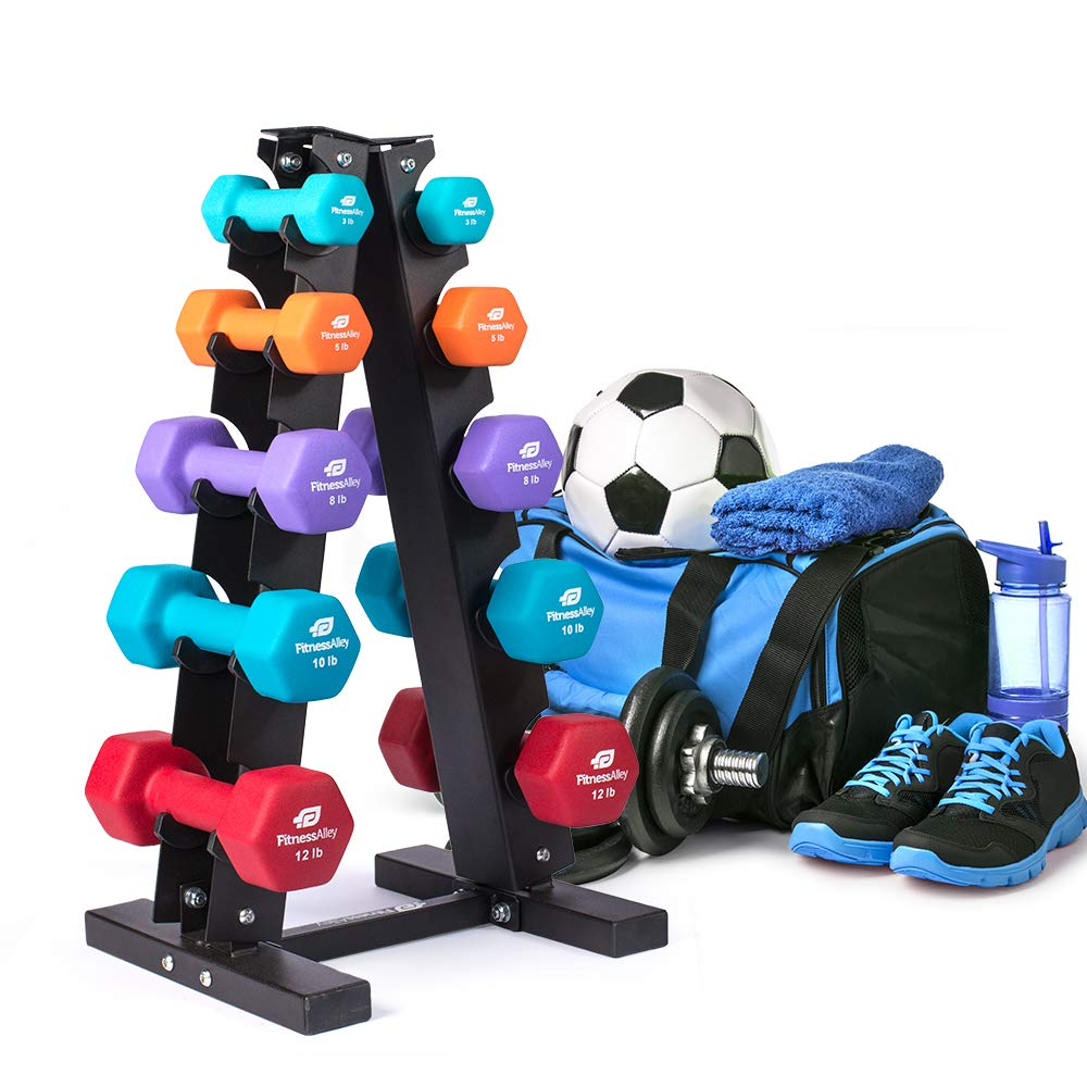 Fitness Alley Steel Dumbbell Rack - 5 Tier Weight Holder & 5 Tier Weight Rack Dumbbell Stand - Dumbbell Holder - Dumbbell Rack Stand - Weight Racks for Dumbbells of All Sizes by Fitness Alley (Image #6)