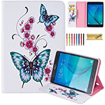 Galaxy Tab A 8.0 Case, SM-T350 Case, Dteck(TM) Premium Synthetic Leather Wallet Case with [Card Money Slots] Pretty Cute Cartoon Flip Stand Cover for Samsung Galaxy Tab A 8.0-Peach Flower Butterfly