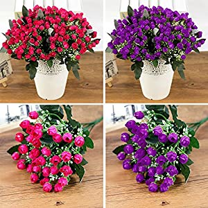 MingXiao 1 Bouquet 36-Heads Roses Artificial Fake Flowers for Wedding Bridal Home Party 81