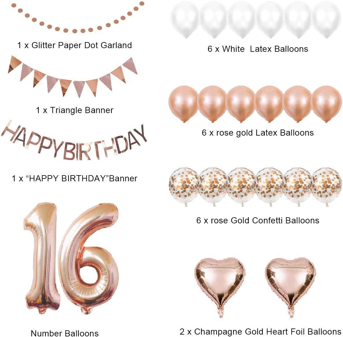 Number 16 Foil Balloons Sweet 16 Rose Gold Birthday Party Pack for Girls Women Happy Birthday Banner 16th Birthday Decorations Party Supplies